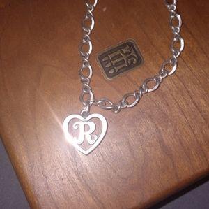 James avery medium twist bracelet w/ initial R script charm